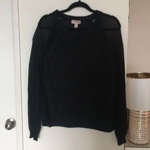 XXI black sweater with sheer sleeve and sides